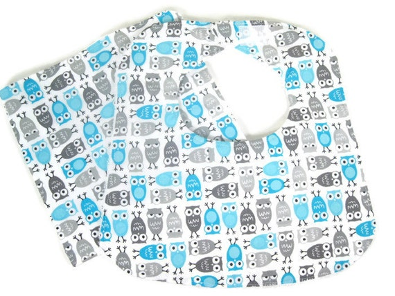 Mini Owls in Blue and Gray Bib Burp Cloth Set, Baby Bib and Burp Cloth Set, Baby Accessories
