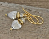 Hill Tribe Sterling Silver and Gold Vermeil SWEETHEART DROP Dangle Earrings Artisan Hand-crafted Jewelry