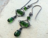 Chrome DIOPSIDE Earrings, mini chandelier earrings, sterling silver, green gemstone jewelry, AngryHairJewelry, handmade artisan earrings
