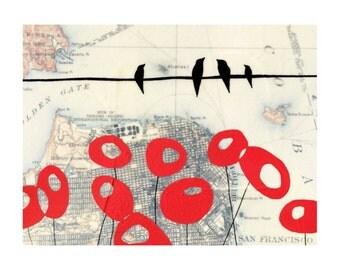 SF Poppies Map Print // Travel Art // California Art // Modern Decor // Modern Poppy // Bird Art // Map Art // Rachel Austin Art 11x14