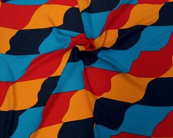 Vintage Silk Scarf 1987 Ginnie Johansen Vintage Scarves and Wraps Retro Womens Scarves 80s Op Art Geometric Vintage Accessories Dallas Texas