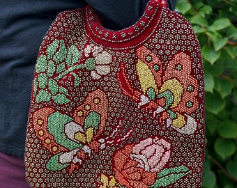 Vintage 70s Beaded Purse Hippie Boho Bohemian Women Accessories Butterflies Floral Bags and Purses 70s Retro Handbag Tote Bag