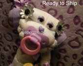 Diaper Monkey. Purple/Zebra Colors, Diaper Cake Topper, Baby Shower Gift, New Baby