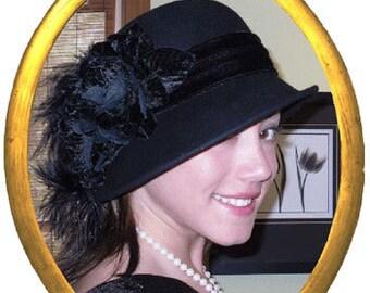 Flapper Hat Edwardian Downton Abbey Hat Gatsby Hat Tea Party Cloche Hat - Lady Marguerite