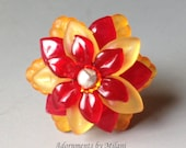 Red and Orange Rings Bridesmaids Bridal Jewelry Gifts Flower Floral Vintage Beads Sterling Silver Autumn