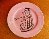 Dr Who Dalek hand painted vintage porcelain bread and butter plate with hanger recycled art pink sc ifi display