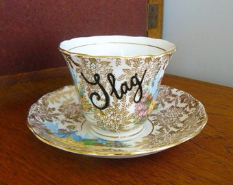 Slag hand painted vintage teacup and saucer set recycled humor slutty slapper tea party