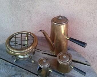 Vintage 1960s Coffeemaker Brass Espresso Set Eames Era Mid Century Turkish Coffee