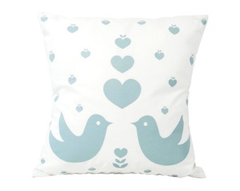 Smoky Blue Print on White Love Birds Pillow 13 Inches Square