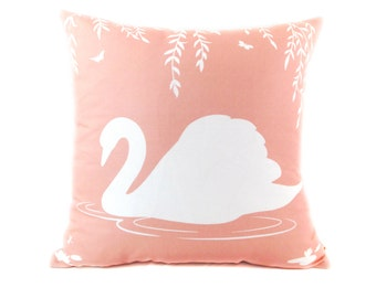 White and Pastel Light Coral Pink Swan in the Swamp 18 inches Square Linen Pillow