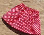 Bright Red Baby Skirt with White Stars, Newborn