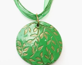 green clay pendant necklace