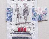 Miniature art quilt, vintage photo, beach scene, summer ladies