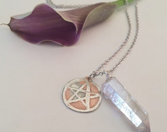 Etched Pentagram with Rose Luster Quartz Point