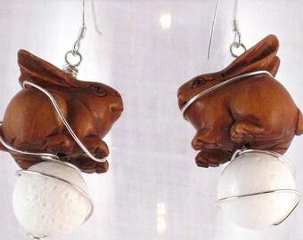 Rabbit Moon Ojime Earrings