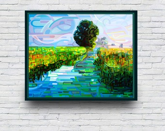 Original Painting - Ebb and Flow - Early morning wetlands sunrise with lone tree, fine art, abstract, acrylic, landscape, blue, green, pink