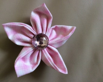 Pink Plaid Fabric Flower Brooch