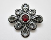Maltese Cross Vintage Brooch - Pewtertone Jewelry