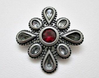 Maltese Cross Vintage Pewtertone Brooch