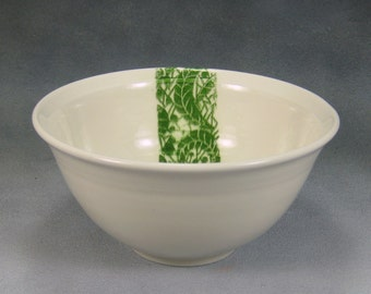 16oz Green and White Porcelain Bowl, Noodle Bowl, Ramen Bowl, Pho Bowl, Rice Bowl, Soup Bowl, Stir Fry Bowl Hand Thrown Porcelain Pottery 17