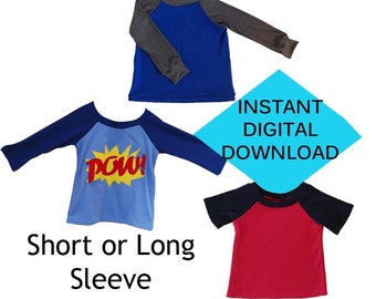Kids Raglan Shirt Sewing Pattern- PDF tutorial- Long or Short Sleeve