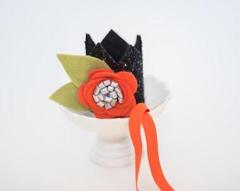 Mini Sparkle Crown // Flower Crown // Smash Cake Photo prop // Black and Orange// Halloween Photo Prop