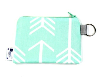 Coin Purse / Change Purse / Coin Pouch / Gadget Pouch - Mint Arrow