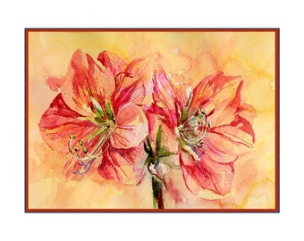 Watercolor Amaryllis Note Cards Notecards, Amaryllis Art, Amaryllis Print, Boxed Set, 6 or 8 Cards