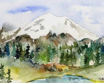 Small Tipsoo Lake Mount Rainier Watercolor, Mt. Rainier Art, Washington State, Cascades Mountains