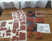 Large Lot of unmounted Red Rubber PHOTO Stamps - collage stamping stamp