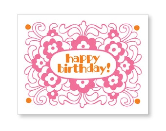 Birthday Flowers letterpress greeting card, set of 5, made in Maine, floral, pink, orange, groovy, swirly, Maine made, spring, summer