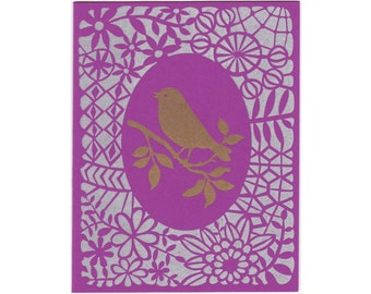 handmade letterpress Gold Bird greeting card, blank inside, made in Maine, lace, pattern, purple, metallic, gold, silver, made in USA
