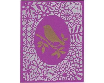 handmade letterpress Gold Bird greeting card, blank inside