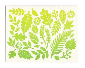 Spring Leaves letterpress greeting card, blank inside, made in Maine, leaves, fall, spring, gradient, green, nature, woods, forest, notecard