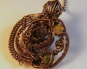 Amethyst Opal Peridot Pyrite & Copper Wire Wrapped Victorian Inspired Pendant