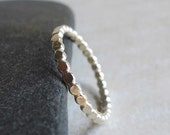 Sterling Silver Beaded Wire Ring, Stackable Sterling Ring, Hammered Bright Silver Beaded Wire Ring, Dimensional Textured Simple Thin Band