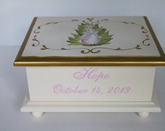 Baby keepsake box Bunnies In The Garden Baby Memory Box personalized baby gift hand painted