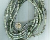 "Gorgeous Authentic Natural Variegated Green Hammershell Heishi Beads 4-5mm 20"" Strand"