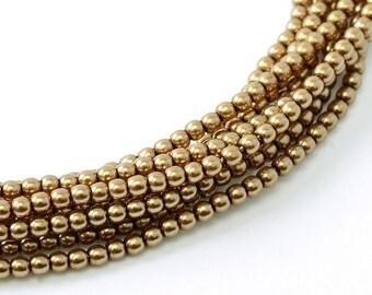 2mm Antique Gold Czech Round Glass Pearls Beads 50 pcs