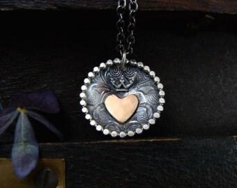keep it safe ... mixed metal pendant