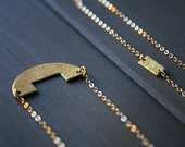 NEW Imani Necklace - modern minimal long geometric hammered brass gold half moon circle cutout