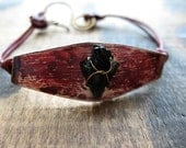 Mini Obsidian Arrowhead, Russet Aluminum Plaque and Red Leather Bracelet  - size 7