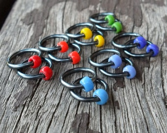 Choose Size Dangle Free Knitting Stitch Markers Opaque Seed Beads Hematite Wire Rainbow Set of 14 Snag Free