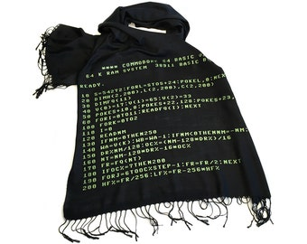 Computer code scarf. Commodore 64 BASIC Code linen weave pashmina. Retro computing gift, geek gift. For men or women. Green on black & more!