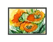 Floral painting orange and yellow watercolor painting, alcohol ink art, vibrant gorgeous color