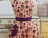 Retro Sweetheart Apron Baking Theme in pink and Purple - BELLA