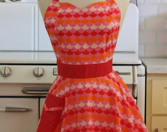 Retro Full Apron Sweetheart Neckline Pink and Red Scallops - BELLA