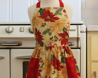 Vintage Inspired Christmas Apron for Little Girls - Poinsettias