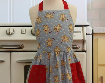 Vintage Inspired Christmas Apron for Little Girls - Gingerbread Men on Blue