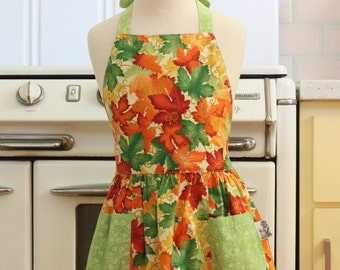 Retro Apron Colorful Leaves Full Apron for Little Girls